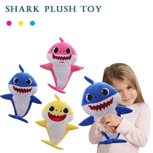 2019 weiche puppen baby shark cartoon toys mit musik led niedlichen tier plüsch baby spielzeug shark baby puppen singen englisch lied kinder geschenk