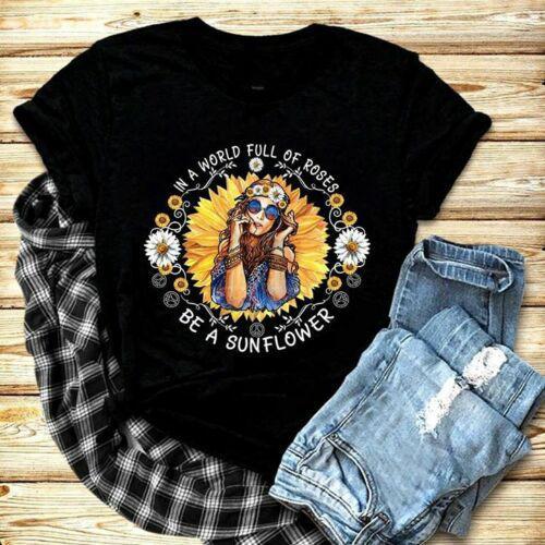 Hippi Kız Bir Dünyada Gül Dolu Bir TshirtCartoon Olmak t gömlek erkekler Unisex Yeni Moda tshirt ücretsiz kargo komik tops