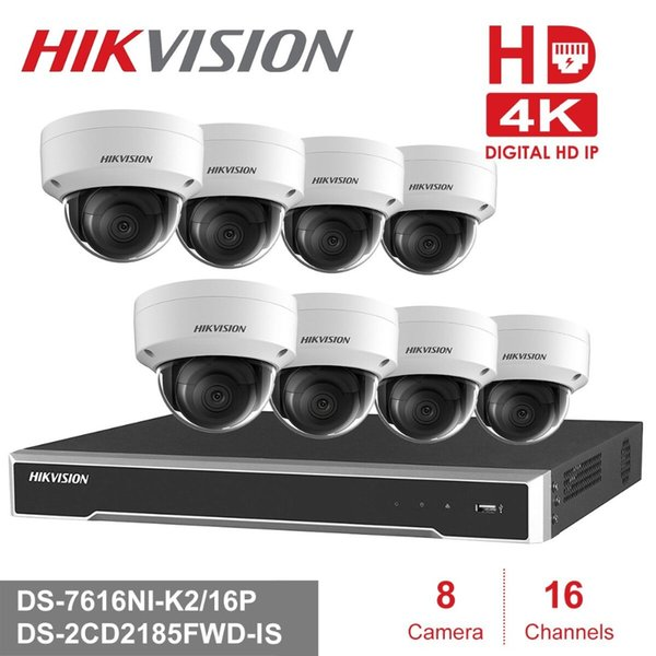 Hikvision 4K POE NVR KIT 16 Channel 8PCS HD 8MP PoE Dome IP Camera H.265 with Audio Function P2P NVR KIT CCTV Camera System