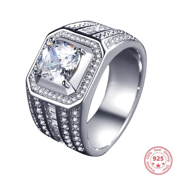 Real 925 Sliver Square VVS1 Diamond Ring for Men Anillos Bizuteria White Topaz Wedding Gemstone Silver 925 Jewelry Ring with Box