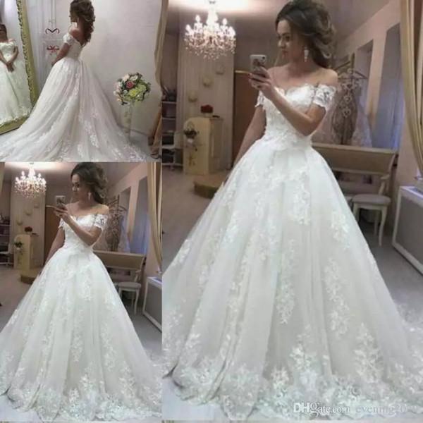 Discount Vintage Lace A Line Wedding Dresses Off The Shoulder Short Sleeves Appliques Modest Bridal Gowns Country Wedding Gowns Vintage Designer