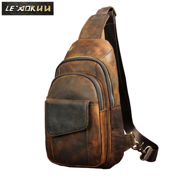 """Hot Sale Men Crazy Horse Leather Casual Fashion Chest Sling Bag 8"""" Tablet Design One Shoulder Bag Cross Body Bag Male 8013d Y19061301"""