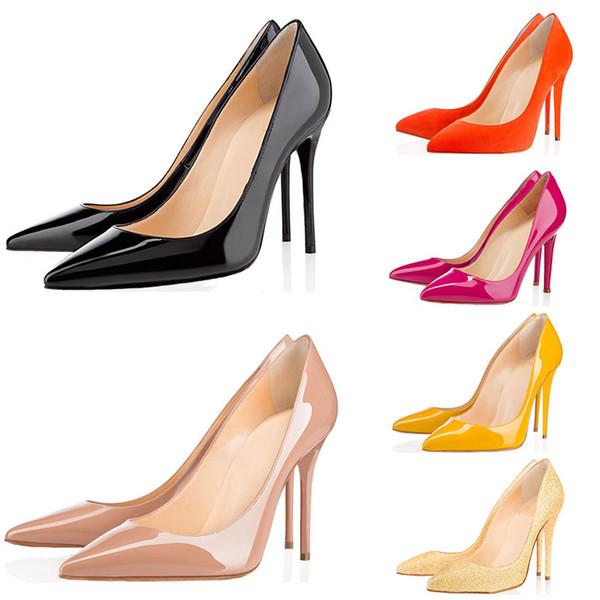 Tasarımcı Ayakkabı Sneaker Kate Stilleri Yüksek Topuklu Ayakkabı Kırmızı Dipleri Lüks 8 CM 10 CM 12 CM Hakiki Deri Noktası Toe Kauçuk Boyutu 35-42