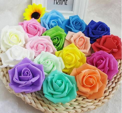 Hot sale 7cm Artificial Foam Roses Flowers For Home Wedding Decoration Scrapbooking PE Flower Heads Kissing Balls Multi Color