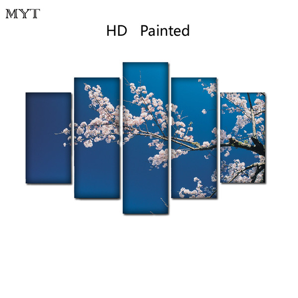 HD Printed oil Paintings Spray prints image on Canvas Wall Art pictures 5 pieces Plum blossom flowers landscape For Living Room Home Decor