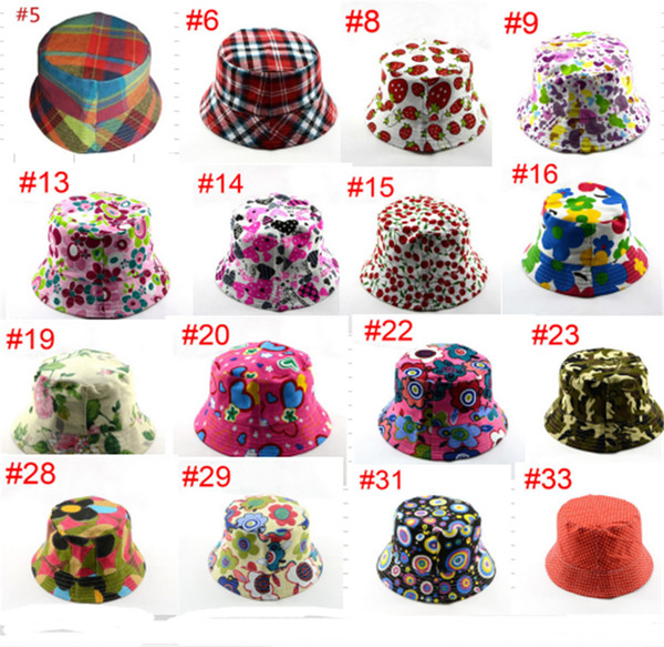 Kids Visor Bucket Hats Caps Sun Protection Baby Beanie Caps Beach Outdoor Child Sunproof Hat Anti UV Basin Canvas Topee Floral Plaid B71602