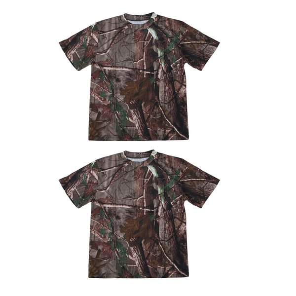 2 pcs new outdoor hunting camouflage t-shirt men breathable combat t shirt dry sport camo camp tees-tree camouflage, xxl & xl thumbnail