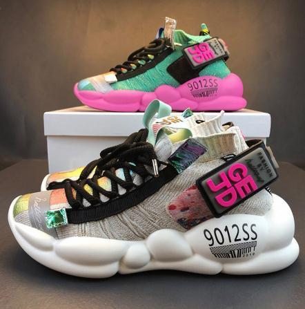 Kadınlar Chunky Sneakers Platformu 5cm Kalın Sole Bayanlar Casual vulcanize Ayakkabı Web Ünlü Baba dişi moda Sneakers Tasarımcı
