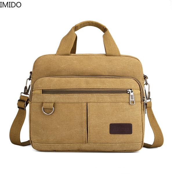 Портативный большой емкости IMIDO мужчин портфель крест холст мужская сумка бизнес ноутбук сумка Messenger