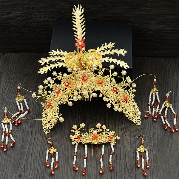 Geleneksel Çin Gelin Headdress Bandı Metal Uzun Püskül Tokalar Hairwear Alın Saç Düğün Aksesuarları Altın JCE069