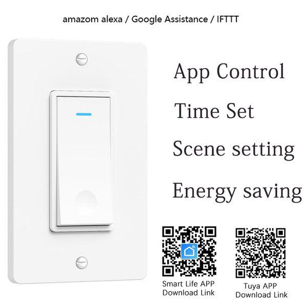 Max Power 2000W maison intelligente Alexa commande vocale norme américaine commutateur intelligent WIFI bouton 1Gang commutateur de lumière