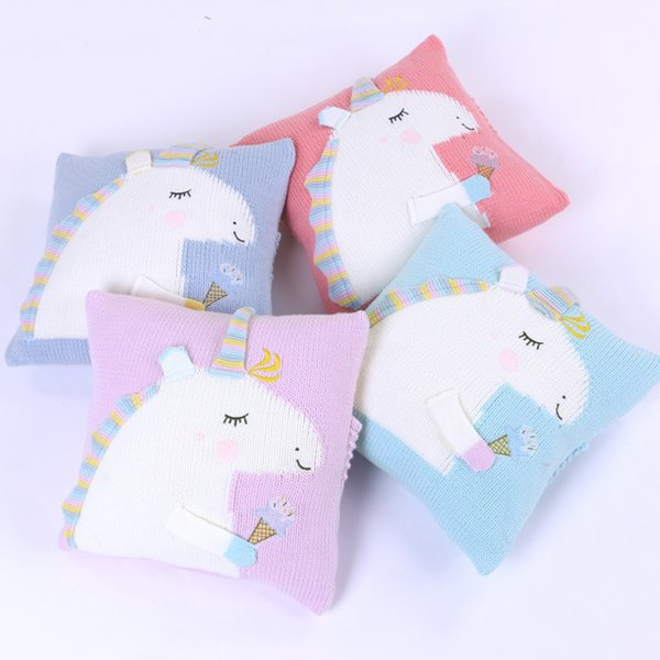 Cartoon Cute Unicorn Cushion Covers High Quality Wool Knitting Cushion Cover For Baby Kids Child Bedroom Sofa Decorative Pillow Case