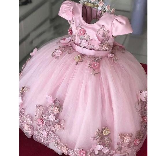 Jewel Rose 2020 Fleur Filles Robes filles Robes première communion Robes de bal Princesse Pageant filles Party robe formelle