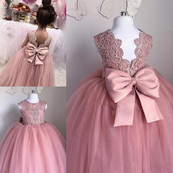 Pink Flower Girls Dresses Sheer Jewel Neck Sleeveless Lace Appliques Tulle Girl Pageant Gowns Birthday Dresses With Big Bow