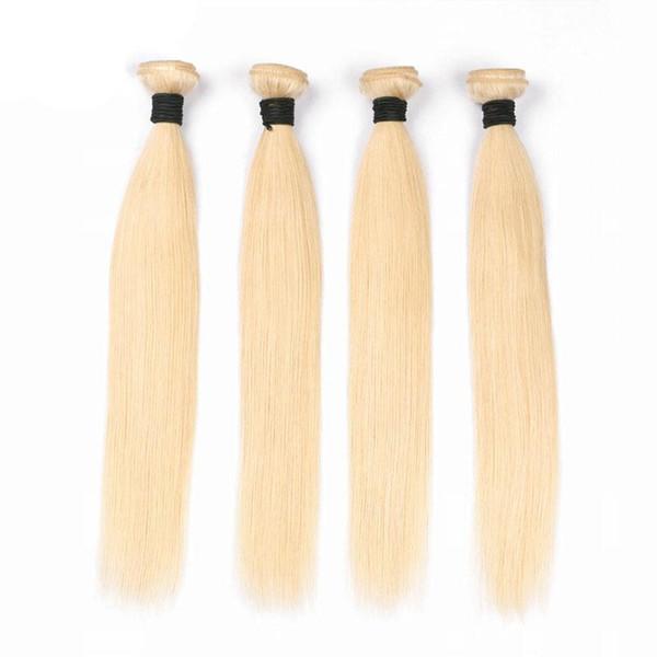 Rubia pura brasileña Remy paquetes de pelo 1 unids 8-30 pulgadas 100% extensiones de cabello humano Pure 613 tramas de cabello recto envío gratis