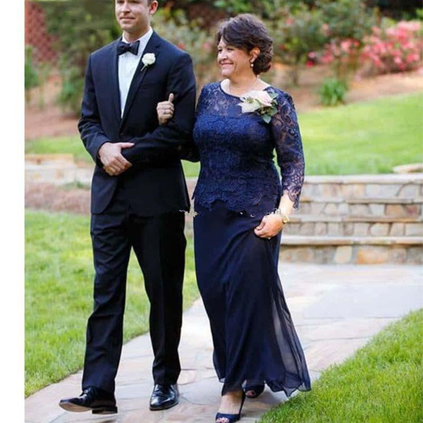 Navy Blue Plus Size Lace Mother Of The Bride Dresses Jewel Neck Long Sleeves Wedding Guest Dress Floor Length A-Line Chiffon Evening Gowns