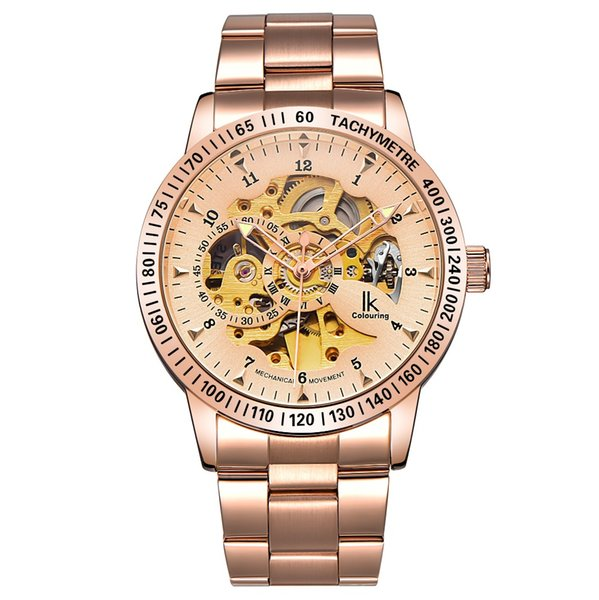 IK Colouring Men Watch Elegant Steampunk Rose Gold Stainless Steel Auto Self Wind Watch Steampunk All Rose Gold Automatic