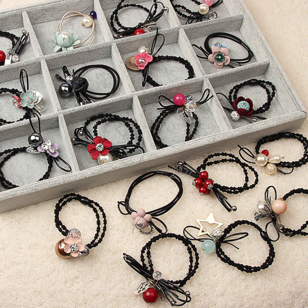 Nice New Hair Rubber Bands Elastic Fabric hair ties Mix Pearl Flower Bowknot Pink black Red blue Korean style Fashion Jewerly for women