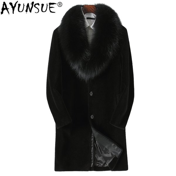 AYUNSUE Sheep Shearing Real Fur Coat Men Winter Jacket 100% Wool Coat Real Fox Fur Collar de cuero genuino Parka Hombre KJ810