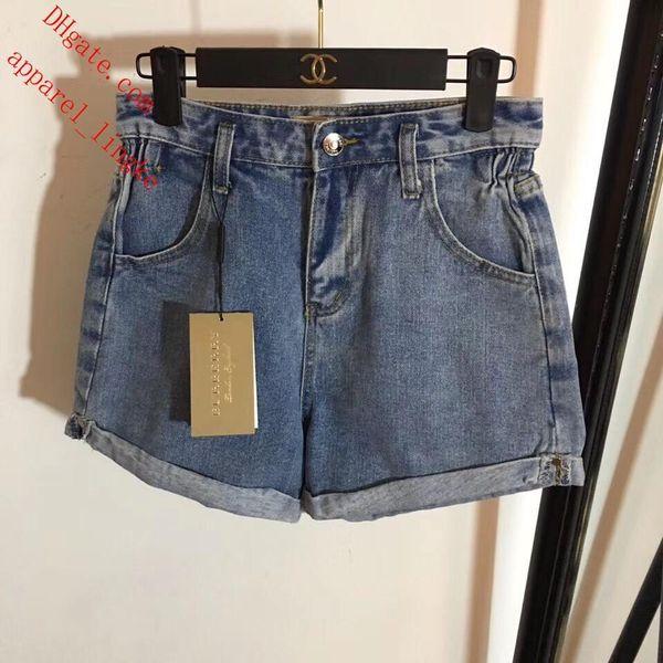2019 New summer brand women shorts Cuffed high waist denim jeans shorts brand women clothes jeans high quality fashion Ladies Clothing