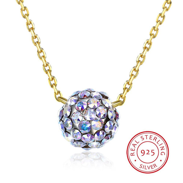 Colorful Ball Pendant Necklaces Crystals From Swarovski Element Jewelry S925 Sterling Silver Beads Collars Fine Jewelry For Women Girls