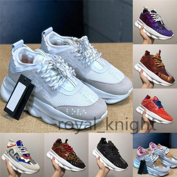 Chain Reaction Casual Designer Sneakers Sport Fashion Casual Shoes Trainer Lightweight Link-Embossed Sole With Dust Bag