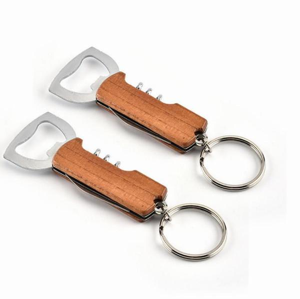 Оптовая нержавеющей стали брелок коррозионно-стойкие анти износа брелок красное вино открывалка для бутылок ключ Chians для мужчин женщин
