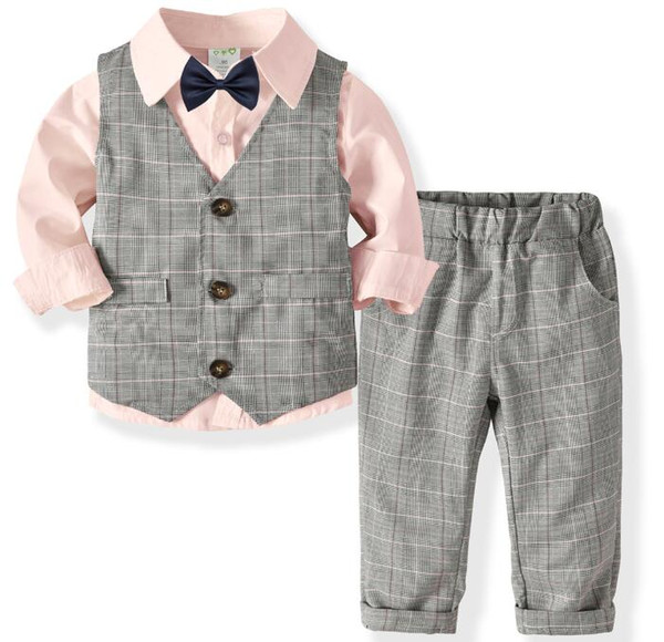 New children's clothing boy long-sleeved shirt vest trousers bow tie gentleman suit vest + shirt + trousers + collar section