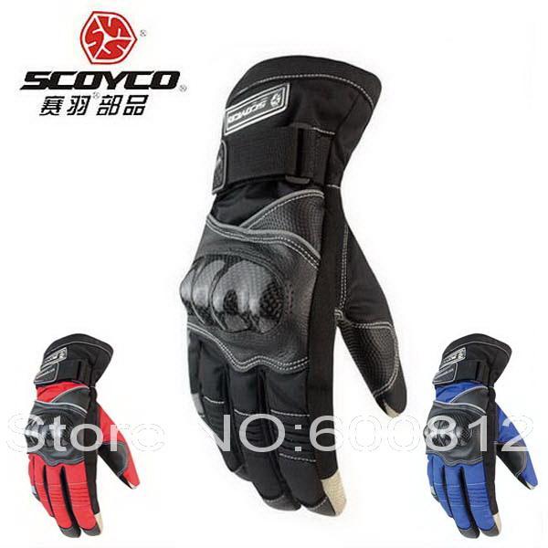 2017 Nouvelle fibre de carbone gant conduite moto SCOYCO gants moto protection coques en cuir imperméable coupe-vent hommes hiver