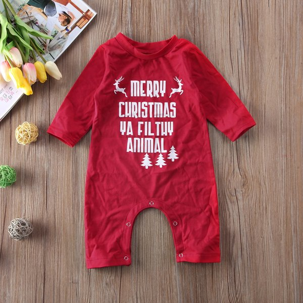 Xmas Toddler Kids Baby Girls Romper letter print Jumpsuit Play suit Clothes Outfit long sleeve red Rompers for baby Christmas