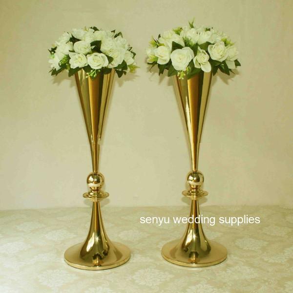 Gold metal vases wedding table centerpiece flower stands for wedding senyu0092