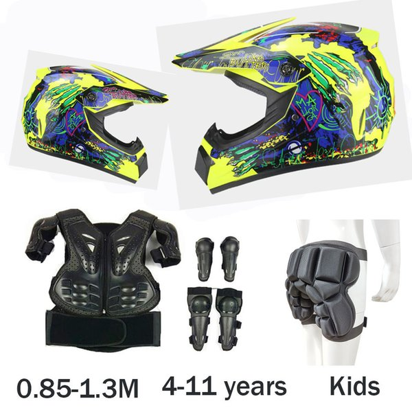 Child Baby Outdoor Sports Body Protect Armor Head Protect Helmet DH MX Cycling Vest armor Knee Elbow Guard Kids Protective gear
