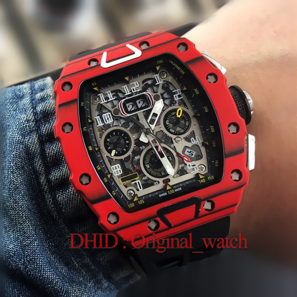 Sport Mens Watches 11-03 Mechanical Automatic Crystal Carbon Fiber Case Red Import Rubber Strap 50mm Fashion Casual Male Watches A127