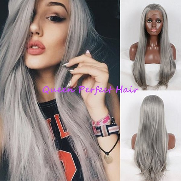 Top Quality Long Silky Straight 24 inches Gray Wig Glueless Synthetic Lace Front Wig With Baby Hair Heat Resistant Ombre Wigs Black women