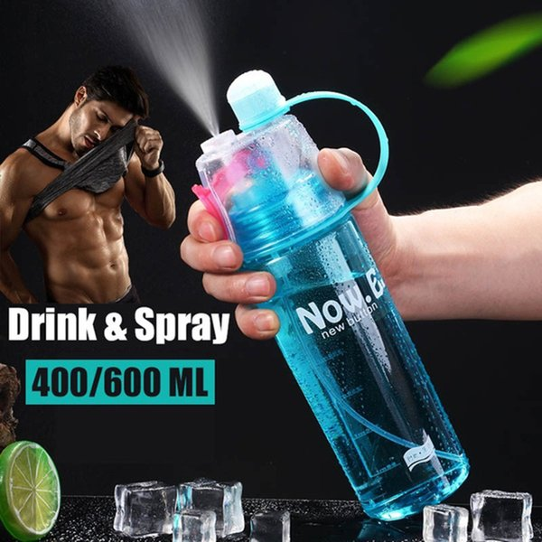 top popular PC Spray Water Cup Sports Drinking Bottle 600 ML Cooling Household 4 Color Camping Drink Liquid Simple Storage Multifunctional 2019