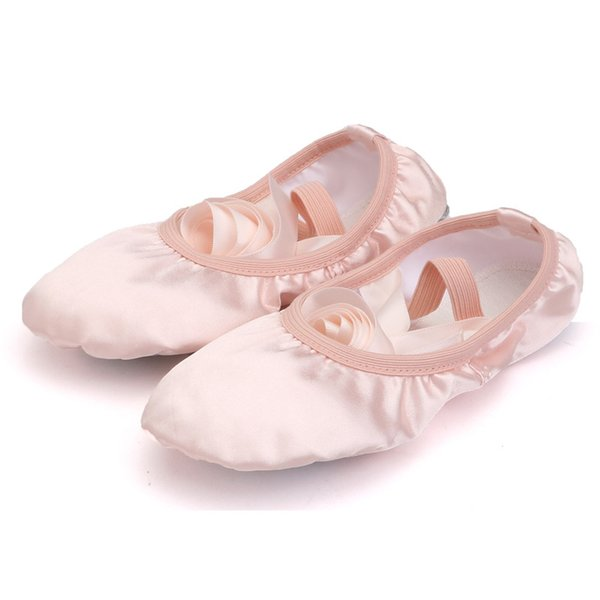 best selling Girls Satin Ballet Pumps Ribbon bowknot Toe shoes Kids practice ballet shoes cotton cloth dancing shoes for baby kids juniors adults 3-16T
