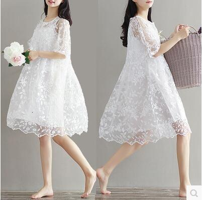 9077 2017 maternity clothing summer twinset lace maternity one-piece dress white embroidery maternity dress For Pregnant SH190917