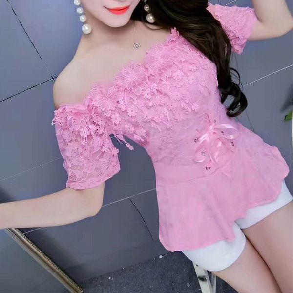 2018 Spring Women Summer Shirt Sweet Tie Floral Lace Blouse Lady Short Sleeve Slash Neck Backles Blouses Short Blusas Tops Ab831 Y19062501