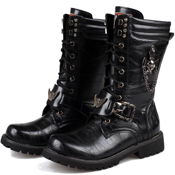 Compre Hombres Botas Militares Botas De Combate Militares De Alta Hebilla De Metal Punk Botas De Motocicleta Masculinas De Media Pierna Tuerza Hasta