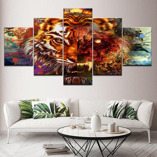 Peinture sur toile abstraite de tigre Illustration 5 Pièces Wall Art Peinture Fonds d'écran modulaire d'affiche Home Decor