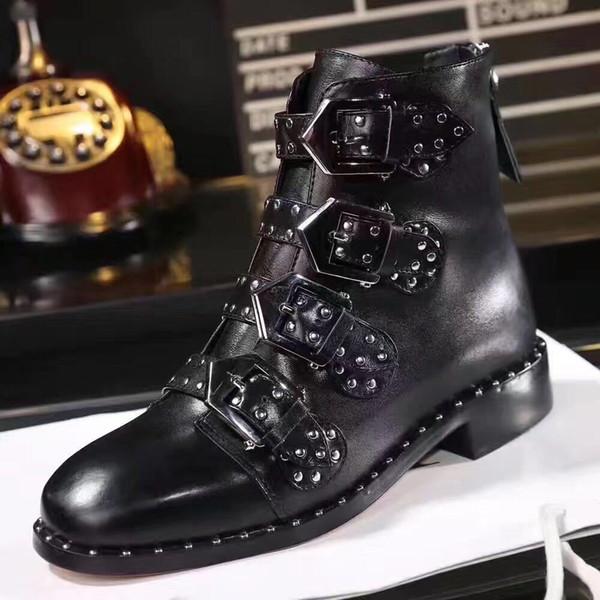 Fashionville * u750 40 black leather studded belt flat boots short boots zippy punk fashion luxury driving motorcycle boots