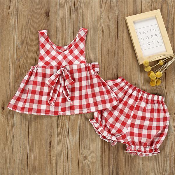 Летние девушки детская одежда наборы 2 цвета девушки плед безрукавные слинг топы + шорты 2 шт. Набор детской дизайнерской одежды девочек JY530