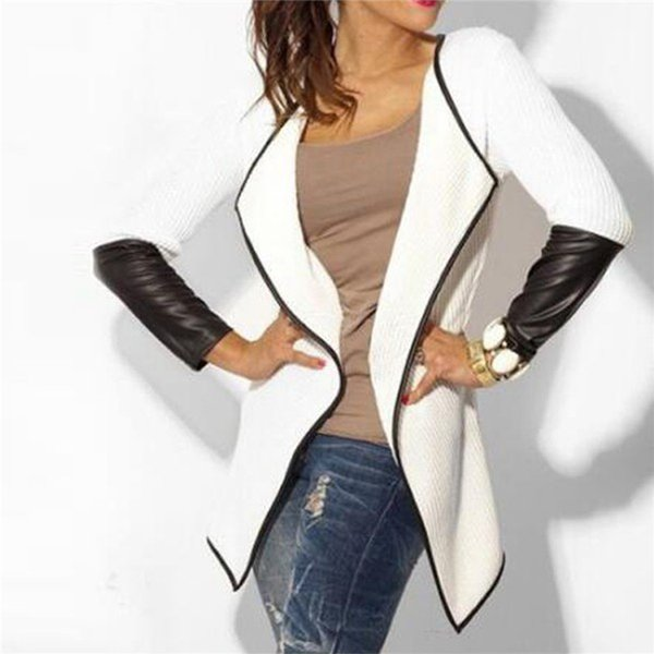 2019 Mujeres chaqueta de cuero de manga larga otoño invierno mujer de punto Cardigan manga larga Poncho Outwear chaqueta de abrigo más el tamaño