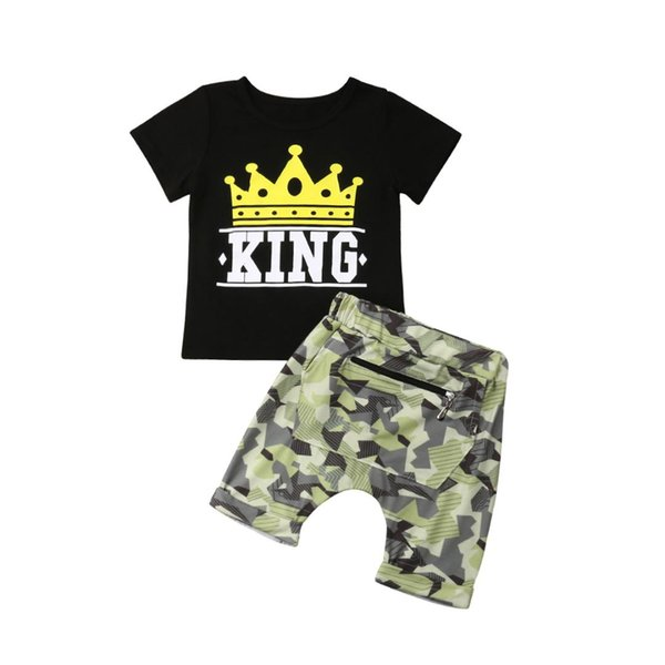 New Arrivels 2Pcs Toddler Kids Baby Boys Camo Casual Clothes Summer T-shirt Tops+Pants Outfits