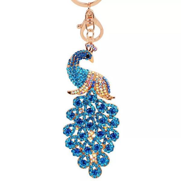 New peacock alloy key chain popular rhinestone keychain female bag ornaments creative small gifts charm car key pendant ring