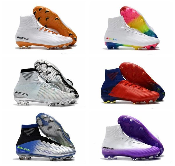 2019 mens soccer cleats Mercurial Superfly V1 Ronalro FG indoor soccer shoe kids football boots cr7 boys neymar boots Rising Fast Pack cheap