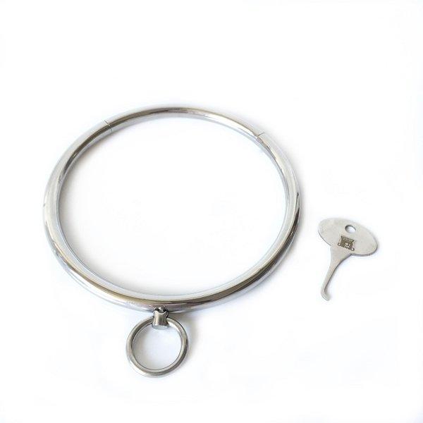 Nueva llave de acero inoxidable bdsm metal esclavitud collar esclavitud SM parejas eróticas juego adulto juguetes sexuales para hombre mujer