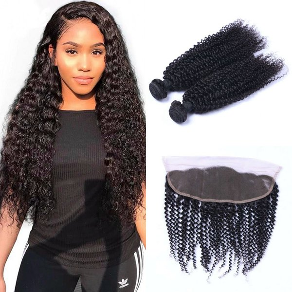 Malaysian Kinky Curly Bundles with Frontal 8-26 inch Human Hair Weft 2 Bundles with Lace Frontal