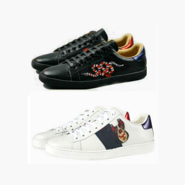 Tamaño grande 35-48 us13 Plus Zapatos de diseñador Mezclar 15 modelos Ace Top Zapatos de cuero Marca de lujo Zapatos casuales con flores bordadas tigre de abeja