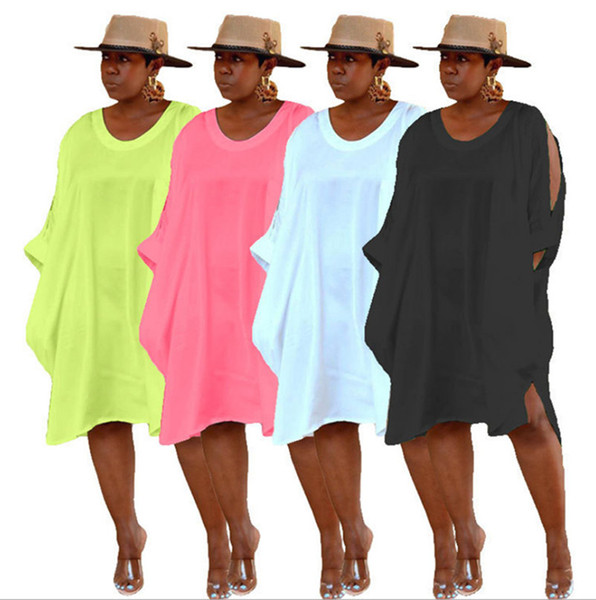 Women casual t-shirt dresses summer clothes crew neck pure color hollow out long Sleeve new arrival fashion loose dresses Plus Size s-4xL606
